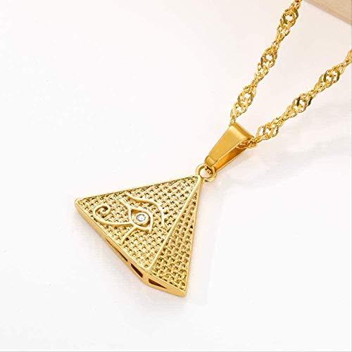 YOUZYHG co.,ltd Collar con Incrustaciones de circonita pirámide egipcia de Acero Inoxidable, Ojo de Demonio, Ojo Dorado, joyería para Hombre, Colgante Triangular geométrico