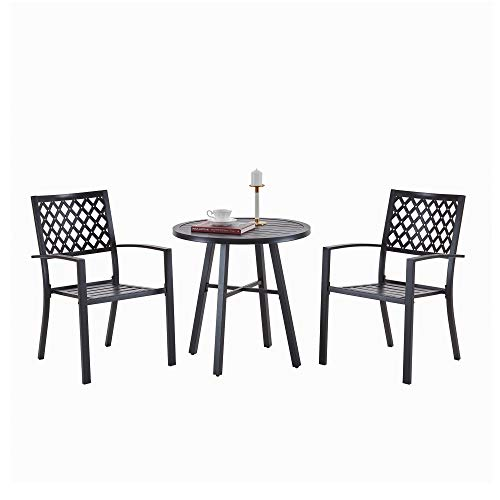 Vicllax Patio Table and Chairs Set 3Pcs Outdoor All-Weather Metal Bistro Sets