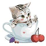 Jcpaint Malen nach Zahlen KinderTeetasse Katze DIY Vorgedruckt Leinwand Ölgemälde Kits Geschenk für Erwachsene Anfänger Home Haus Dekor 40x50 cm Ohne Rahmen
