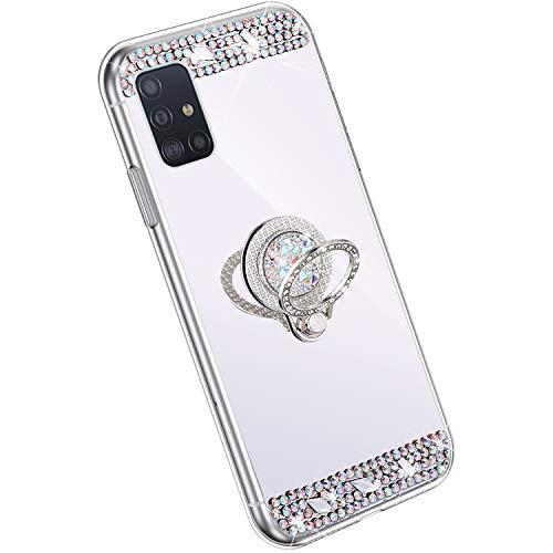 Hpory Glitzer Hülle Kompatibel mit Samsung Galaxy A51 Hülle - Glänzend Strass Diamant TPU Silikon Schutzhülle Spiegel Handyhülle, 360 Grad Ring Ständer Durchsichtig Handyhülle Tasche Case/Silber