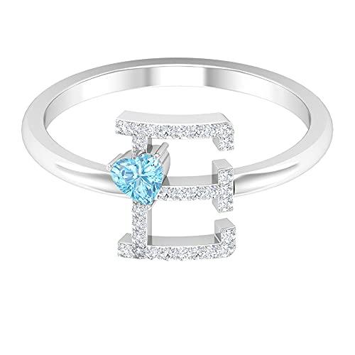 Anillo de diamante y topacio azul Londres 1/3 quilates, letra E, oro alfabeto joyería (3,5 mm en forma de corazón, topacio azul londinense), 14K Oro blanco, topacio azul - london, Size:EU 46