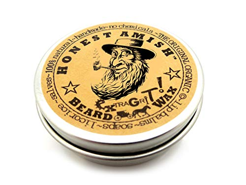 Honest Amish Extra Grit Beard Wax - Natural and Organic - Hair Paste and Hair Control Wax - 2 ounce