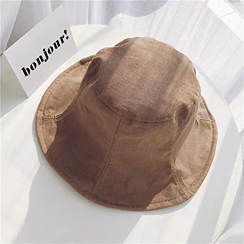 MADONG Japanische literarischen Leinenhut Faltbare Hut koreanische Version von Frühling und Sommer im Freien Sonnenhut Töpfe Hut Frau (Color : Camel, Size : Einheitsgröße)