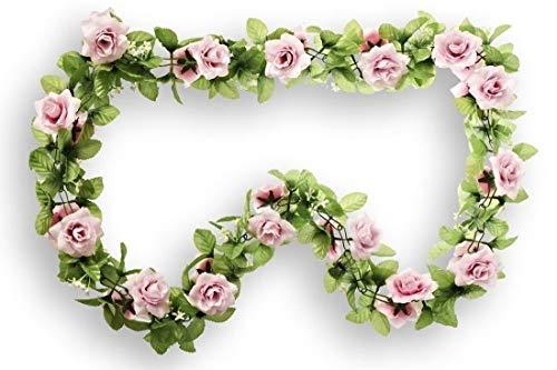 CBK-MS Rosen rosa Rosengirlande Blumengirlande Fahrrad Blumen für Lenker + Korb