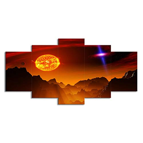 SLJZD Cuadro sobre Lienzo Space Planet Sun Lienzo Pintura Micro Spray Estilo Creativo Decoración Arte De La Pared Póster Imágenes Grandes para Dormitorio Decoración Familiar Sin Marco 250cm