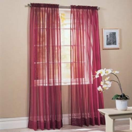 """Beautiful Sheer Voile Window Elegance Curtains for Bedroom & Kitchen, 57"""" inch x 84"""" inch, Set of 2 (Burgundy)"""