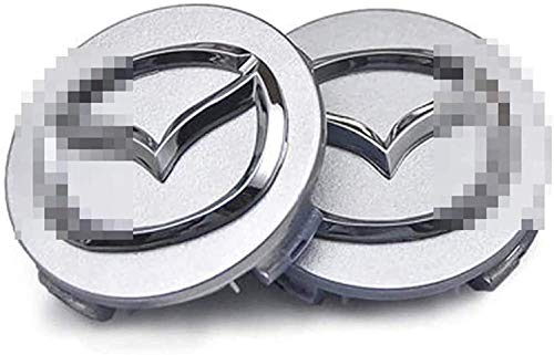 4pcs Coche Tapas Centrales De Llantas para Mazda 3 6 2004-2011,Con Logo De Coche Centrales De Rueda Resistente Al Agua Y Al Polvo Tapa De Cubo Aluminio Decorativa Accesorios De Estilo,60mm
