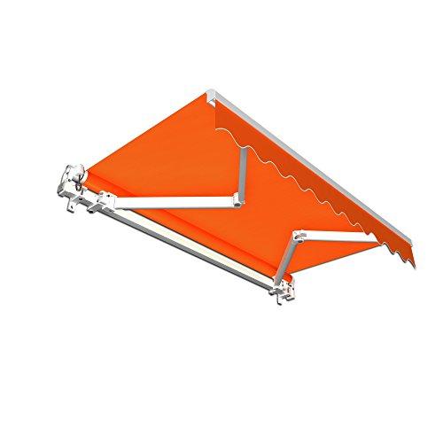 paramondo Gelenkarmmarkise Basic Balkonmarkise Sichtschutz für Terrasse, 250 x 150 cm (Breite x Ausfall), Orange Uni