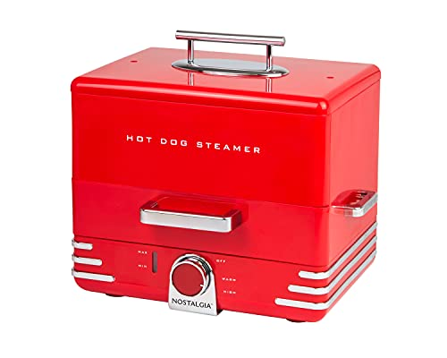 Nostalgia Extra Large Diner-Style Steamer 24 Hot Dogs and 12 Bun Capacity, Perfect For Breakfast Sausages, Brats, Vegetables, Fish-Red