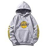 ZGJY Felpa con Cappuccio da Basket Lebron James # 23 Los Angeles Lakers Jersey Felpa con Cappuccio Sciolta Felpa Hip-Hop Allentata T-Shirt da Allenamento per Uomo e Donna Manica Lunga-Grey-M