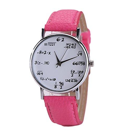 TONSEE Math Formeln Damen Herren Leder Edelstahl Uhr Sport Quarz Armbanduhr (Hot Pink)