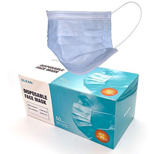 DECADE 50x Einweg Masken EN14683 mit 95% BFE - von Guangzhou Clean Medical - Gesichtsmaske - Einwegmaske Mundschutz Staubschutz mit Ohrschlaufen Mund und Nasenschutz @Anytrade