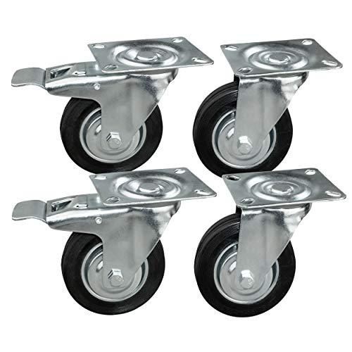 4 Stück Transportrollen im Set 100 mm, Rollen mit Bremse der Marke HRB, Schwerlastrollen mit max. 300 Kg Gesamttragkraft, geeignet für z.B. Rollen für Palettenmöbel (4er Set 100mm)