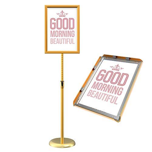 GUOHONG Póster de menú soporte ajustable reemplazable de acero inoxidable Publicidad signo soporte de, color Dorado A4
