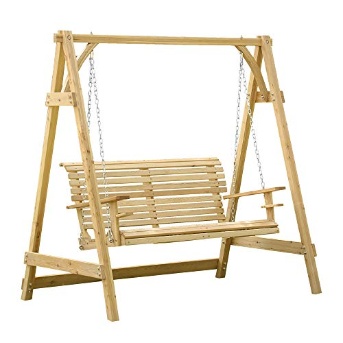 Outsunny 2 Seater Larch Wood Garden Swing Chair Seat Hammock Bench Lounger - Nature