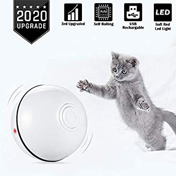 Jouets pour Chat, Jouets Chats Interactifs (USB Rechargeable) Jouet Electronique Automatique, Boule Auto-Rotative à 360 Degrés avec Lumière LED et Batterie pour Balles d'exercice Animaux Chats (Blanc)