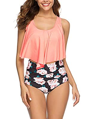 Epsion Women Flounce Swimsuits Girls Falbala Bikini Set High Waist Bikini Bottom Retro Swimsuit Bathing Suits Orange Flower
