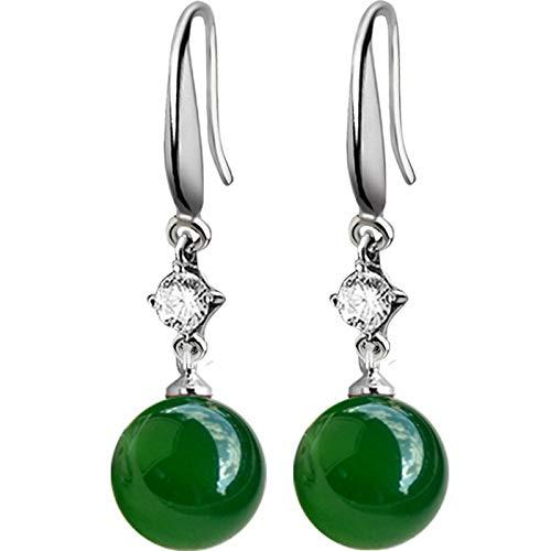 YUXIwang Pulsera 925 plata plata esmeralda jade pendientes de joyería natural ágata verde calcedonia piedras preciosas granate gota diamante para mujer (color de la gema: como en la imagen5)