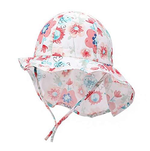Odosalii Baby Sonnenhut Mädchen Junge Sommerhut mit Breiter Krempe, Atmungsaktiver Sommermütze, UV Schutz 50, Kopfumfang verstellbar