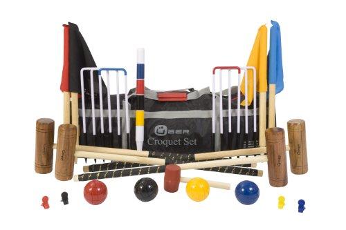 Uber Games UG105 - UG-B-NY Garden Croquet Set - Juego de croquet para jardín (contienen 2 mazos x 86 y 2 mazos x 96 cm, 4 pelotas de madera, 6 arcos de acero, 1 martillo para arcos, banderas para marcar, clips y barra central de madera, bolsa de transporte/almacenamiento de nailon)