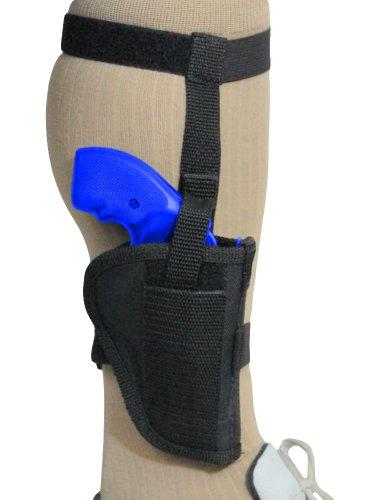 Barsony New Black Nylon Ankle Holster for 2' Snub-Nose 22 32...