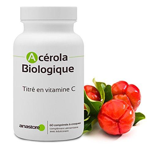 ACEROLA - VITAMINA C NATURAL * 170 mg / 60 comprimidos * Energia (fatiga), Hueso, Inmunitario, Piel (antiedad) * Garantía de satisfacción o reembolso * Fabricado en Francia