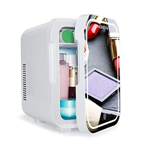 10L Mini-Kühlschrank mit Touch LED Licht und HD Spiegel, 2 in 1 Tragbarer Mini-Kühlschrank,Kühler und Wärmer für Autos, Büros, Zuhause und im Freien