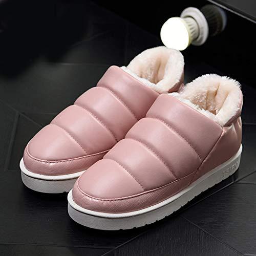 Hausschuhe Baumwollpantoffeln Frauen Winter Schnee Stiefeletten Warme Wohnungen Wasserdicht Männer Damen Paar Bequeme Hausschuhe Mujer 5.5 Pink