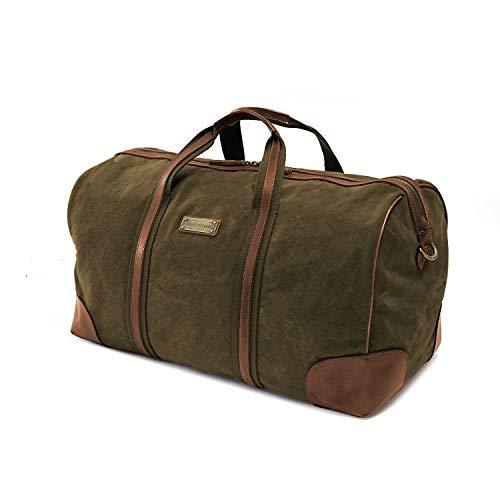 DRAKENSBERG Travel Bag - Borsone piccolo, borsa da viaggio in stile retrò per donna e uomo, bagaglio a mano adatto, realizzato a mano in qualità premium, 40L, tela e pelle, verde oliva, DR00115