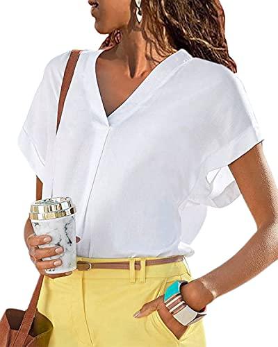 LilyCoco Blusas Camisa Mujer Verano Elegante Sexy Blusas y Camisas de Mujer Suelto Casual Camisa Fiesta Playa Camisetas Manga Corta Blusas con Cuello en V Elegante Top Shirt de Verano Blanco M