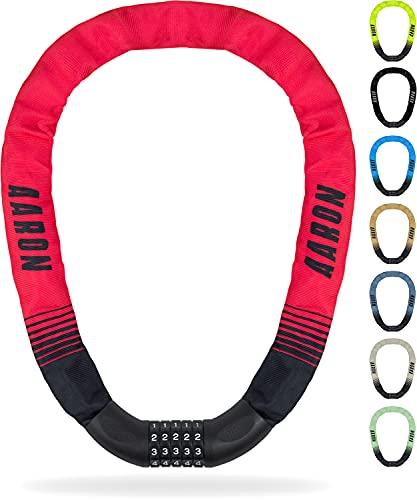 AARON Lock One Fahrradschloss mit 5-stelligem Zahlencode, Kettenschloss aus Stahl und hoher Sicherheitsstufe | Schloss für für E-Bike, Mountainbike, Trekkingrad, Tourenrad, Rennrad in rot