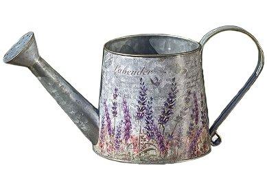 CasaJame Deko Gießkanne Lavendel, Vintage Metallkanne aus Zink, Zimmergießkanne als dekorativer Blumentopf 31cm