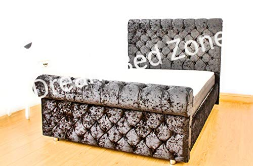 CHESTERFIELD Classy Modern Bed Frame Sleigh Style Fully Upholstered Designer bed in Crushed Velvet or Chenille Fabric (4FT 6'' Double, Crushed Velvet-GREY) by B-Furniture