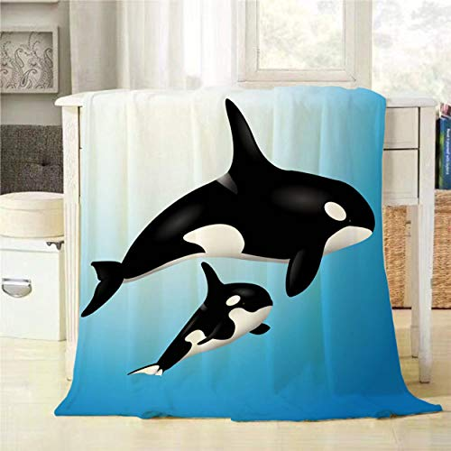Mugod Orcas Throw Blanket Black Orca Mother and Child Swim in The Blue Ocean Decorative Soft Warm Cozy Flannel Plush Throws Blankets for Baby Toddler Dog Cat 30 X 40 Inch