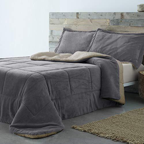 Barceló Hogar - Edredón Conforter Sherpa Basic, Color Gris 26, Cama 135 cm, Medida 235x270 cm, 2...