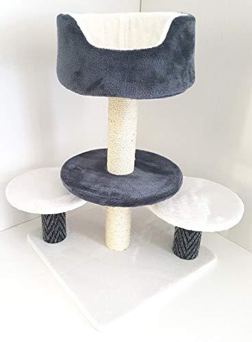 Lemio - Kratzbaum Turn Katzenkratzbaum - Katzenbaum - Möbel für Katzen (grau-weiß) Kletterbaum