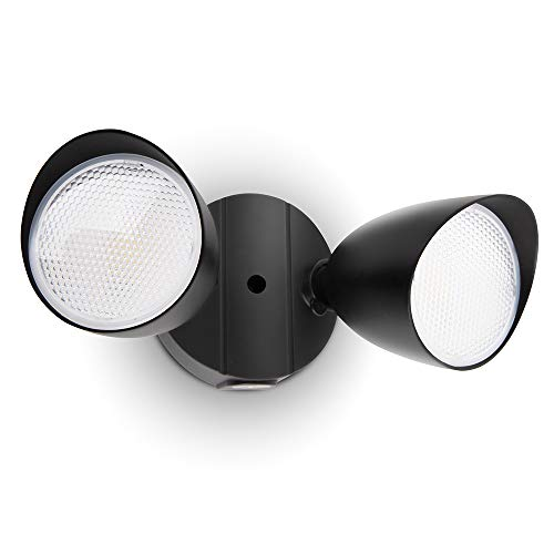 LUTEC 6222B 2500 Lumen 32 Watt 28 LED Dual-Head Floodlight Outdoor, Full Metal Design, Waterproof Exterior Security Wall Light 5000K for Patio, Garden, Yard-Black