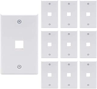 VCE 10 Pack 1-Port Keystone Wall Plate for Keystone Jack and Modular Inserts- White UL Listed
