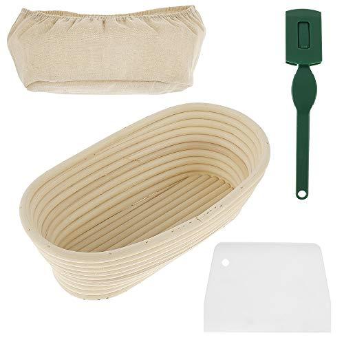 Gärkörbchen aus Peddigrohr Oval Natürlichem Rattan Gärkorb Set mit Leineneinsatz Teigschaber und Brotmesser für Brot und Brotteig Brotkorb