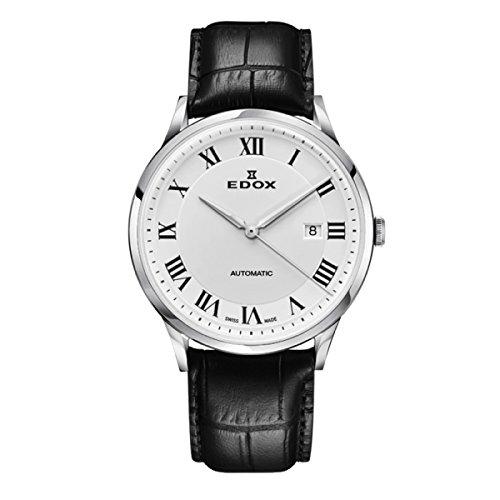 EDOX Herren Analog Automatik Uhr mit Leder Armband 80106-3C-AR