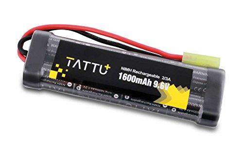 TATTU 9.6V 1600mAh NiMH Flat Battery Pack with Mini Tamiya Connector, NiMH Airsocft Battery for YMA MP5 RIS AEG,HK G36C, AK-47 and so on