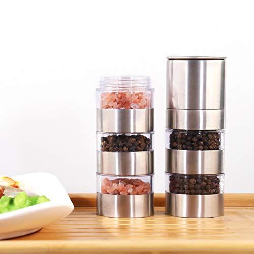 haptern Contenedores de especias redondos Cajas de almacenamiento Tapa transparente Pegamento magnético en el refrigerador Caja de latas de condimento Caja de acero inoxidable judicious