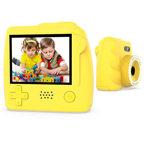 Winnovo Kinderkamera Digital Kamera für Kinder P10 Digitalkamera 2.0 Zoll, Kind Fotoapparat, 5.0 Mega Pixel, mit 32GB Speicherkarte, Kartenleser und USB Kabel, Deutsch (Gelb)