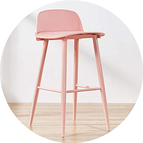 LJWJ Barhocker Cafe Restaurant Sessel An Der Trend Küche Und Frühstück Barhocker, Moderne Lässige Empfangsstühle, Glatter Hinterer Barhocker,Rosa,60 cm