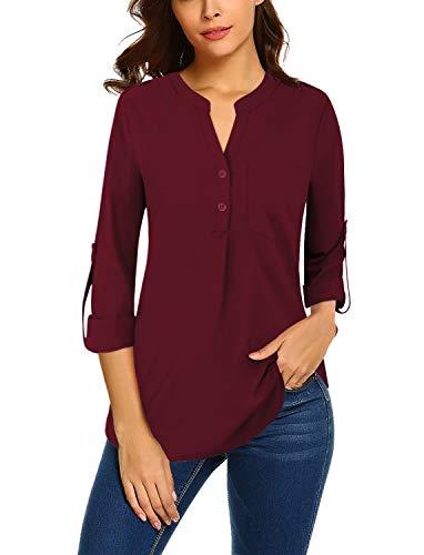 Bulotus Damen-Chiffon-Blusen für Arbeit, 3/4-Ärmel, V-Ausschnitt, Business, Casual, burgunderfarben