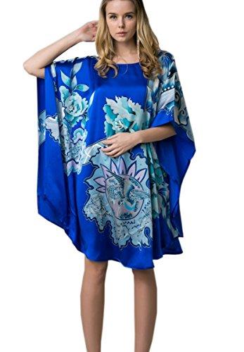prettystern 100% Seide Damen Nachthhemd Tunika mit Handbemalter Chinesischer Malerei Königsblau Phönix Blüten YBS802