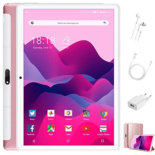 Tablet 10 Pulgadas 4 GB RAM 64GB ROM/128GB Expandido Android 9.0 Ultrar-Rápido Tablets 4G Dual SIM / WiFi 8000mAh Batería Quad Core (GPS, Bluetooth, Netfilix,Type-C) - Certificación Google GMS