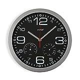 Versa Pamuk Reloj de Pared Silencioso Decorativo para la Cocina, el Salón, el Comedor o la Habitación, Estilo Moderno, Medidas (Al x L x An) 30 x 4,1 x 30 cm, Polipropileno, Color Negro