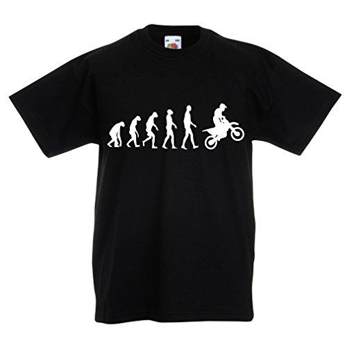 lepni.me T-Shirt pour Enfants Evolution du Motocross équipement de Moto Tout-Terrain Vêtements de Course (14-15 Years Noir Blanc)