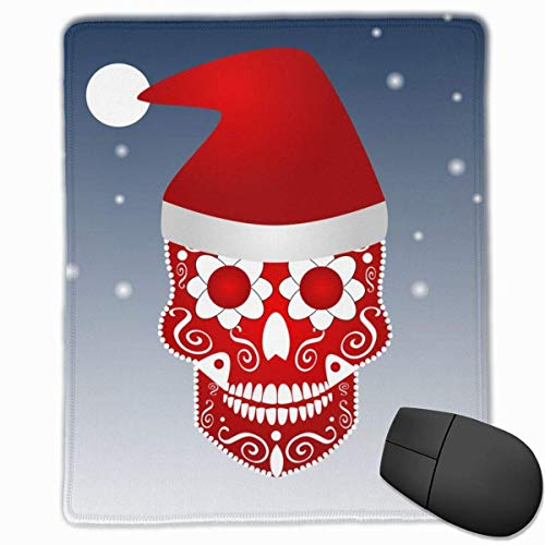 Mauspad Weihnachtsschädel Icon Ornament Weihnachtsmütze Erweiterte Mauspad Rutschfeste Gummibasis mit genähten Kanten